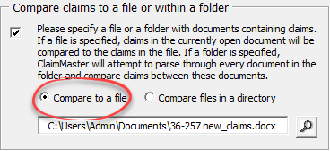 compare claims to file