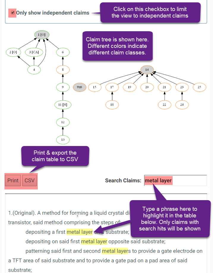 patent proofreading reports - claim tree text