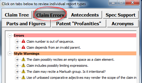 tabbed patent proofreading reports