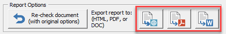 tabbed patent proofreading reports options