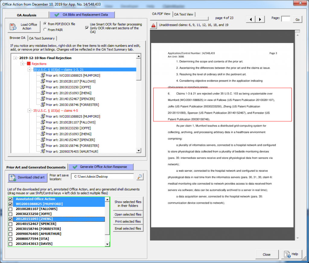 Office Action Browser screenshot