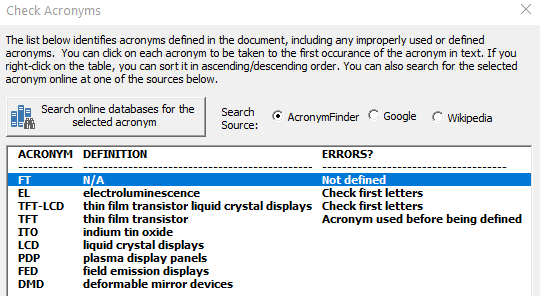 Proofreading Acronym Usage in the Document