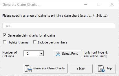 claim chart dialog