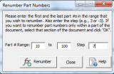 renumber part numbers window