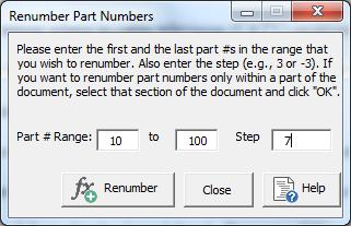 renumber part numbers window