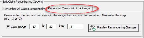 renumber claims range
