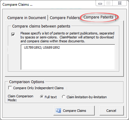 compare claims patents