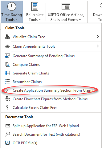 application summary section menu