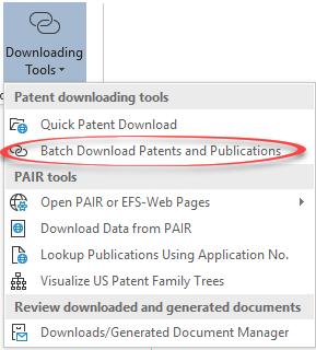 patent downloader menu