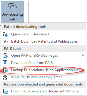 Downloading Patent Publications Based on the U.S. Application Numbers