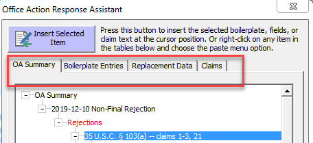 office action assistant tabs