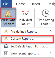 all-in-one report shortcut